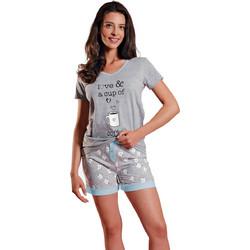 Ogham γυναικεία καλοκαιρινή πυτζάμα γκρι μελανζέ V μπλούζα με σιελ  λεπτομέρειες και εμπριμέ σορτσάκι 6519 ff3cebd30da