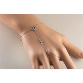 Βραχιόλι δαχτυλίδι που ενώνεται με αλυσίδα από ασήμι με σταυρό και ματάκι 96c118176a6