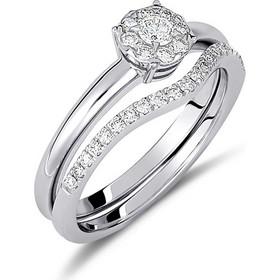 Δαχτυλίδι illusion από λευκό χρυσο 18 καρατίων με ένα κεντρικό διαμάντι a6872b32f5f