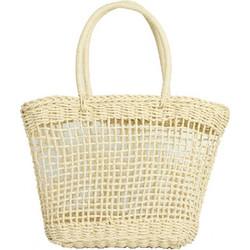 e16ab60c9e Γυναικεία μπεζ ψάθινη τσάντα τετράγωνη με χειρολαβή 700815