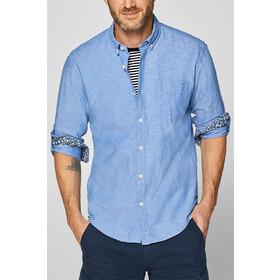 741d086f1dc3 Esprit ανδρικό λινό πουκάμισο με τσέπη - 999EE2F800 - Μπλε