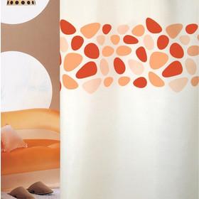 Υφασμάτινη κουρτίνα μπάνιου PEBBLES Πορτοκαλί Πλάτος 180 x Ύψος 200cm 569104642e5