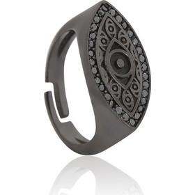 Ασημένιο Δαχτυλίδι Σεβαλιέ One Size με σχέδιο Μάτι με Μαύρη Πατίνα και με  Μαύρα Ζιργκόν d0e357a4e22