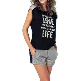 8c47ac1760c9 Jadea μαύρο σύνολο Τ-shirt με σορτσάκι 3025