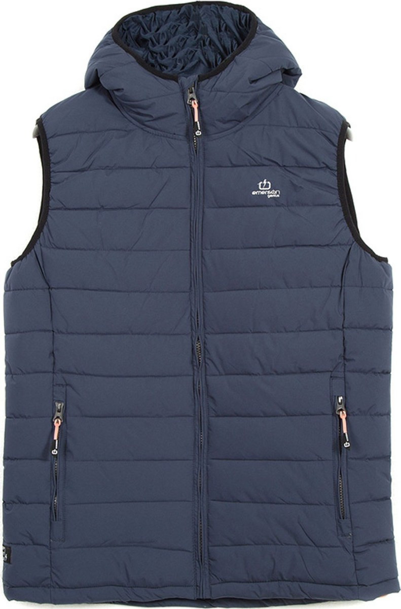 Emerson Hooded Fake Down Quilted Vest Jacket 182.EM10.231-Navy Blue ... acf11f411d9