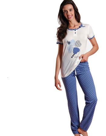 Ogham μπλε γυναικεία καλοκαιρινή πυτζάμα με καρδιές OG6512 30334227d62