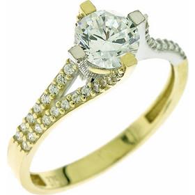 Δαχτυλίδι μονόπετρο χρυσό και λευκόχρυσο με ζιργκόν 6 χιλιοστά 220affb58e0