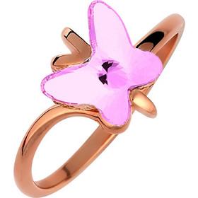 Ασημένιο δαχτυλίδι 925 πεταλούδα με ρόζ πέτρα SWAROVSKI AD-E1358RR1 7e2f3b0803b