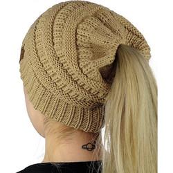3cba6b7c2296 CC Letter Ponytail Cap Knitting Hat for Ladies(Brown) SK616657