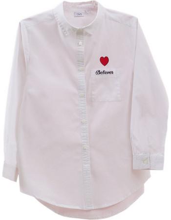 20e9f5250239 OVS παιδικό πουκάμισο λευκό με καρδιά στο τσεπάκι - 000278308 - Λευκό