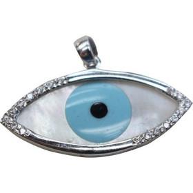65e1eac947 Φυλαχτό μενταγιόν μάτι φίλντισι με ζιργκόν σε λευκό χρυσό Κ14