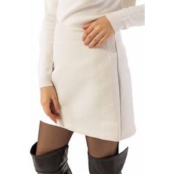 Μονόχρωμη κοντή φούστα σε άλφα γραμμή με ανάγλυφα λουλούδια - Λευκό 4377cd23846