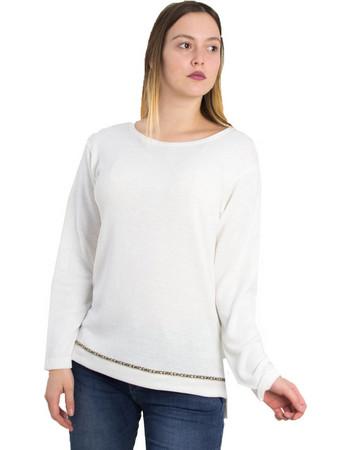aede0907501b Γυναικεία λευκή πλεκτή μακρυμάνικη μπλούζα 1176055