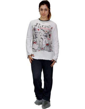 Bozer Γυναικεία Πυτζάμα Paris σε Λευκό με Ανθρακί χρώμα 6e6495a7359