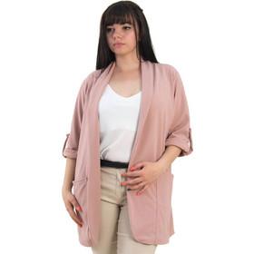 96038a79306a Γυναικείο ροζ μονόχρωμο σακάκι Plus Size Honey 64923G