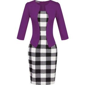 9bfc4791c60e European Style Female Autumn Plaid Dresses Two-piece Business Suit Pencil  Skirts