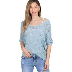 36639cb2a72b Πλεκτή μπλούζα άνιση Σιέλ - Σιέλ
