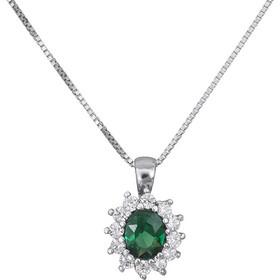 Λευκόχρυσο κολιέ Κ14 με πράσινη πέτρα 029017 029017 Χρυσός 14 Καράτια 1a8713d64de