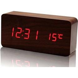 Ξύλινο επιτραπέζιο ρολόι με οθόνη LED - Θερμόμετρο - Ξυπνητήρι - Ημερολόγιο 7e06f6f28ae