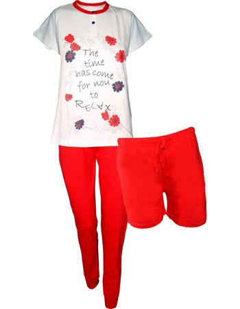 Καλοκαιρινή γυναικεία πιτζάμα με κοντό και μακρύ παντελόνι Κόκκινο  MILK HONEY PDE 559 MILK   HONEY 436f1b9eabe
