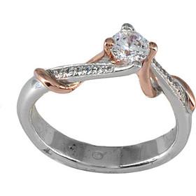 Δαχτυλίδι μονόπετρο λευκόχρυσο και ροζ χρυσό 18 καράτια με μπριγιάν 963ad9fa03b