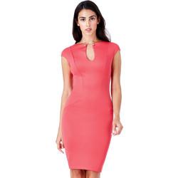 φόρεμα business golden detail σε coral red 7c045b04cc2