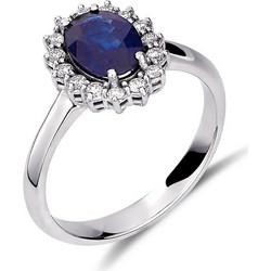 Δαχτυλίδι ροζέτα από λευκό χρυσό 18 καρατίων με ζαφείρι στο κέντρο και  διαμάντια περιμετρικά. RS01S 75f98bd4f89