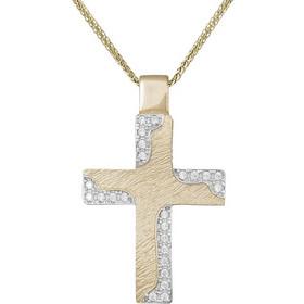 Βαπτιστικοί Σταυροί με Αλυσίδα Σταυρός διπλής όψης Κ14 με ζιργκόν σετ με  αλυσίδα 030772C 030772C Γυναικείο 45989692801