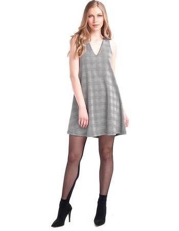 Καρό εβαζέ φόρεμα - Γκρι 06d2bd2895e