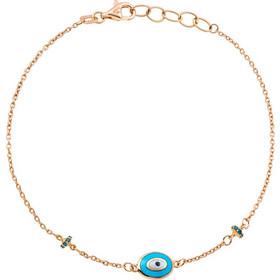 Βραχιόλι από ροζ χρυσό 18 καρατίων με ματάκι και στοιχεία με μπλε  διαμάντια. OR24269 f093cb02d4e