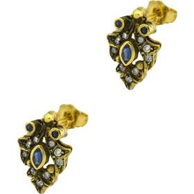 Σκουλαρίκια αντικέ χρύσα 18 καράτια με διαμάντια και ζαφείρια 91e3430ec69