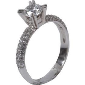 Γυναικείο δαχτυλίδι μονόπετρο σε λευκό χρυσό Κ14 με λευκά ζιργκόν 0406b387a5a