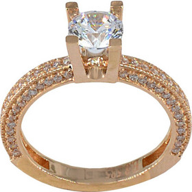 Δαχτυλίδι μονόπετρο ροζ χρυσό 14 καράτια με ζιργκόν 6 χιλιοστά e830832cc39