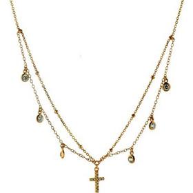 Πολλαπλό κοντό τσοκερ κολιέ από ρόζ επιχρυσωμένο ασήμι με σταυρό και  ζιργκονάκια bdca2be53f9