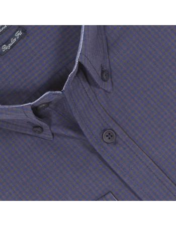 90e83931bc10 Ανδρικό Καρό Μακρυμάνικο Πουκάμισο Regular Fit DOUBLE GS-453 Μπλε