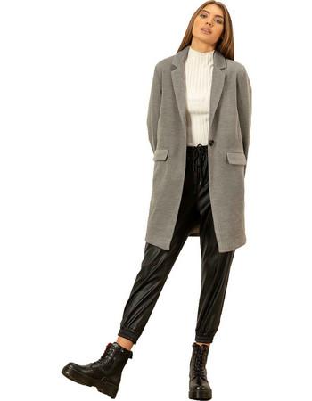 Παλτό σε ανδρικό στυλ με τσέπες μπροστά - Γκρι a6bb7500020