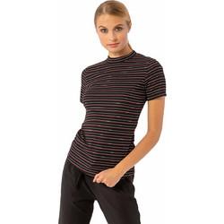 9bd8d178b41f Ριγέ μπλουζάκι με κοντό μανίκι και στρογγυλή κλειστή λαιμόκοψη - Μαύρο