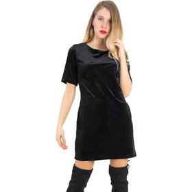 ad0c69b3a61a Γυναικείο μαύρο βελούδινο φόρεμα χαμόγελο Coocu 91869