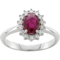 Υπέροχο δακτυλίδι ροζέτα από λευκό χρυσό 18 καρατίων με ρουμπίνι στο κέντρο  και διαμάντια περιμετρικά. 7fbcec2753c