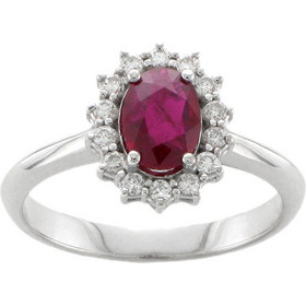 Υπέροχο δακτυλίδι ροζέτα από λευκό χρυσό 18 καρατίων με ρουμπίνι στο κέντρο  και διαμάντια περιμετρικά. 4a3aa1f4aa2