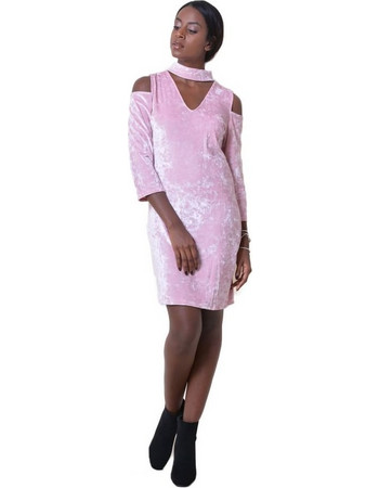 F3035 Φόρεμα Velvet με Ανοιγμα στους Ώμους - ΡΟΖ 14107 b624ce874d5