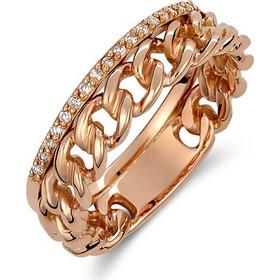 Δαχτυλίδι από ροζ χρυσό 18 καρατίων με σχέδιο αλυσίδας και μισόβερο με  διαμάντια. SP23909 c426025ad15