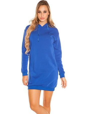 41920 FS Μακριά φούτερ μπλούζα Μίνι φόρεμα με κουκούλα - Μπλέ 9fcb8030f66