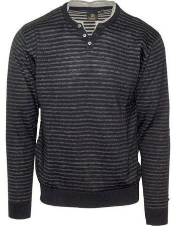 0bf21f34886d 71428-03 Ανδρική πλεκτή μπλούζα με V - Μπλέ navy melange