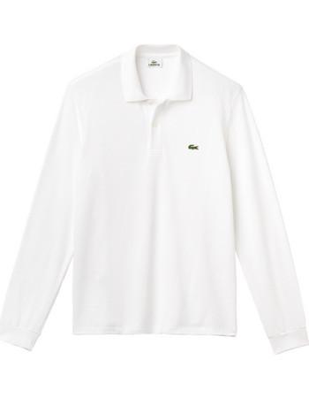 Lacoste ανδρική μπλούζα Polo L.12.12 με μακρύ μανίκι - L1312 - Λευκό 3856f4b4262
