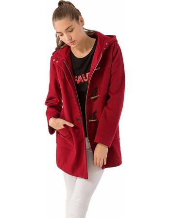 Παλτό σε στυλ μοντγκόμερι με κουκούλα και φερμουάρ - Μπορντώ 04b98a80f31