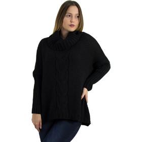 57f0e08c3cb1 Γυναικεία μαύρη πλεκτή μπλούζα πουλόβερ Oversize ζιβάγκο 559100D