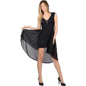 80ace1f32d44 Mini Φόρεμα Δαντελωτό με Ασύμμετρο ύφασμα ζορζέτα Μαύρο - Μαύρο