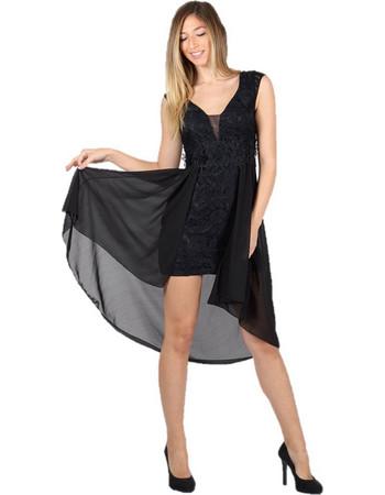 Mini Φόρεμα Δαντελωτό με Ασύμμετρο ύφασμα ζορζέτα Μαύρο - Μαύρο f23711b3fe4