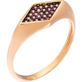 Δαχτυλίδι από ροζ χρυσό 14 καρατίων με επιφάνεια σε σχήμα ρόμβου  διακοσμημένου με ροζ ζιρκόν. 3ea85106922